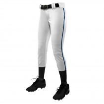 TOURNAMENT With Pipe Softball Pant; S; White,Navy; Girls'