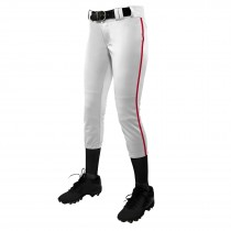 TOURNAMENT With Pipe Softball Pant; S; White,Scarlet; Girls'