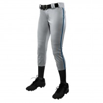 TOURNAMENT With Pipe Softball Pant; XL; Grey,Navy; Girls'