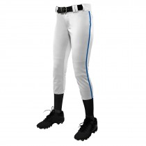 TOURNAMENT With Pipe Softball Pant; S; White,Royal Pipe; Girls'